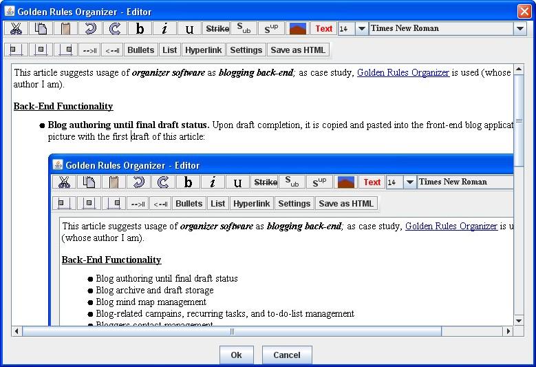 Blog Editor Window